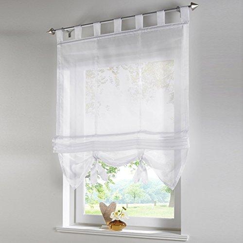 sundautumn cortinas de ventana romano diseo polister para saln cocina balcn 140x155cm blanco - Cortinas Cocina Moderna