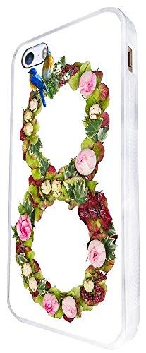 652 - Love Infinity Floral Shabby Chic Birds Design iphone SE - 2016 Coque Fashion Trend Case Coque Protection Cover plastique et métal - Blanc