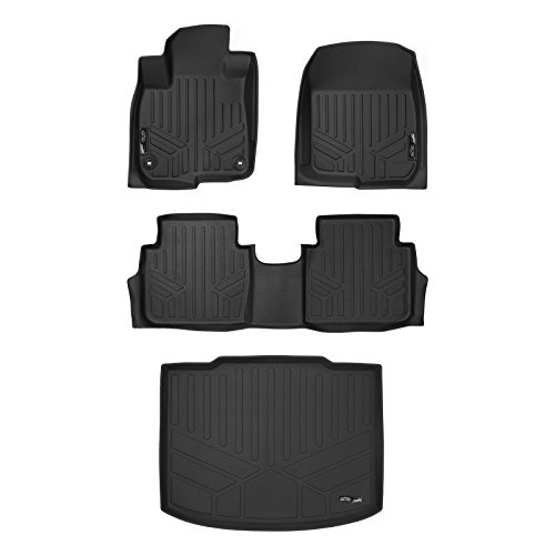 (MAX LINER A0250/B0250/D0251 Custom Fit Floor Mats 2 Rows and Cargo Liner (Factory Lower Deck Position) Set Black for 2017-2019 Honda CR-V)
