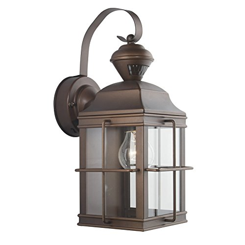 Secure Home New England Carriage 14.75-in H Antique Bronze Motion Activated Outdoor Wall Light by Secure Home