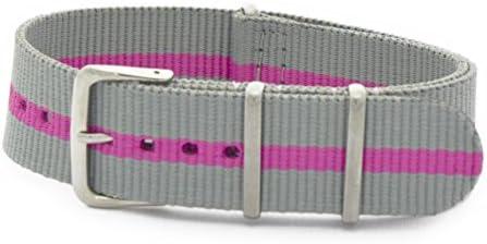 CASSIS[カシス] ナイロン 時計ベルト TYPE NATO タイプナトー 20mm グレイxピンク 交換用工具付き #141.601S321020