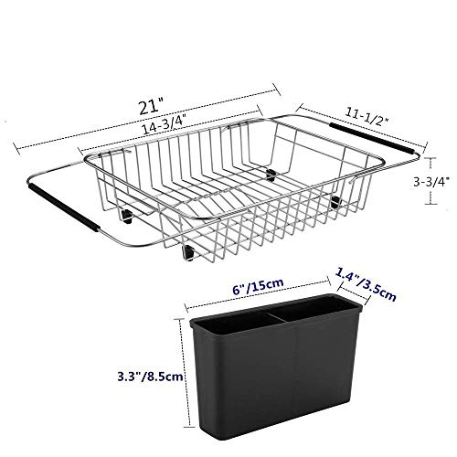 SANNO Expandable Dish drying Rack,Over the Sink Adjustable