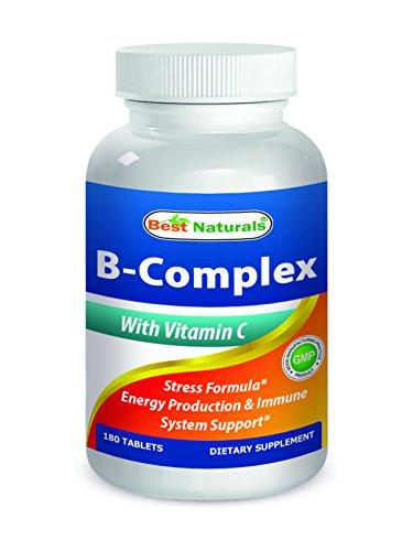 Nutritional Vitamin B-complex - Best Naturals B-Complex with Vitamin C Tablet, B Complex Stress Formula, B Complex Energy Production Formula, 180 Count