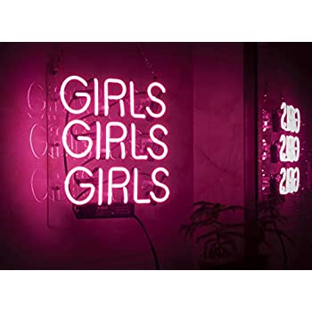 liqi pink girls girls beer neon sign 14 x 9 large for home bedroom pub hotel beach. Black Bedroom Furniture Sets. Home Design Ideas