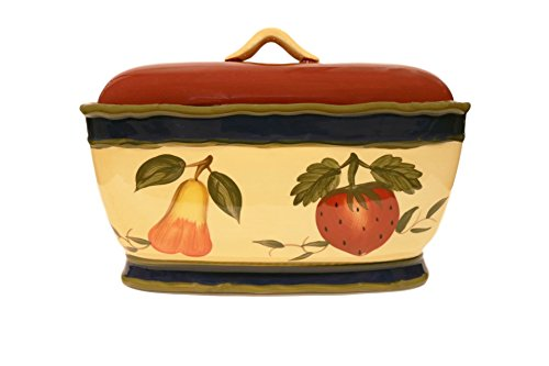 Grape Bread (Tuscany Garden Colorful Hand Painted Mixed Fruit Breadbox/Toast Jar, 8975 by ACK)