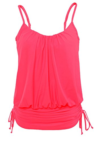 Vanbuy Women's Swim Top Ruched Swimdress Tankini Swimsuit Blouson Top 41982-Rose-L