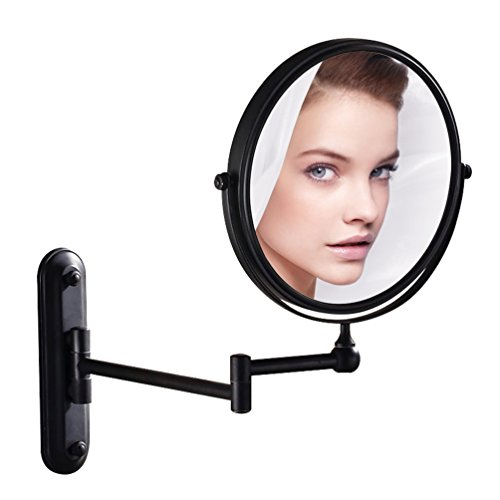GURUN Wall Mounted Mirror Double Sided With 10X Magnification,Oil-Rubbed Bronze,No light,M1207O(8in,10x Magnification) - Arm Picture Light