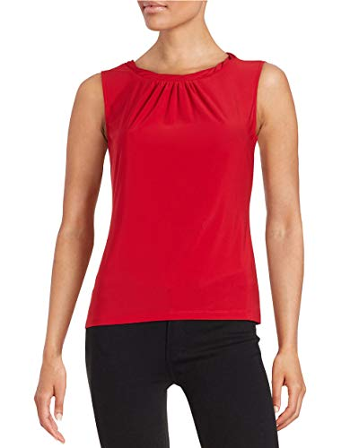 Tahari by ASL Women's Pleated Knotted Neckline Layering Shell Top, Red, P/S