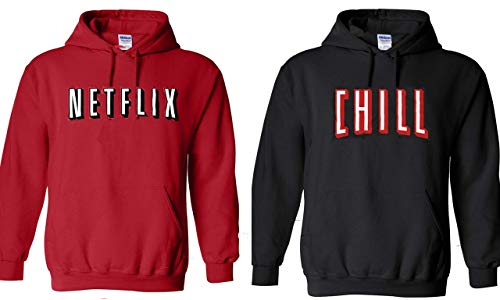 Netflix and Chill Hoodies Set Great for Halloween and Best Friends Couples (Net Medium - Chill Medium) Red
