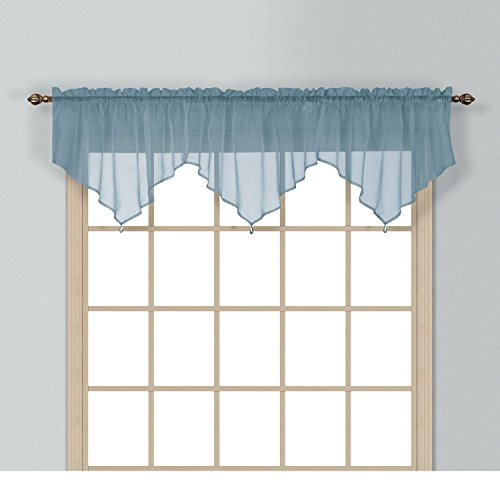 (1 Piece Coordinating Sheer Slate Blue Voile Ascot Valance, Curtain, Solid Pattern, Contemporary Style, Beautiful Design, Polyester Material, Luxury and Reach Look, Stunningly Beautiful, Navy Blue)