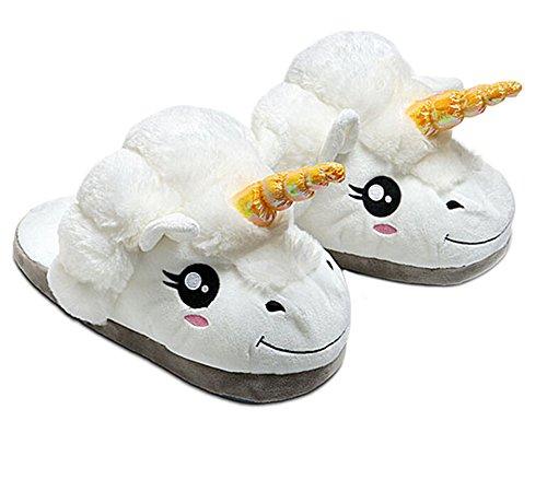 DELEY Adultos de Dibujos Animados de Animales Unicornio de Felpa de Algodón Zapatillas Slip On Hogar Cálido Zapatos 3gnEs