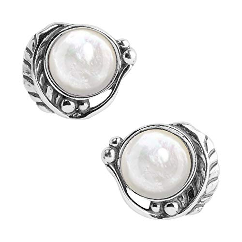 American West Sterling Silver White Mother of Pearl Gemstone Leaf Button Earrings