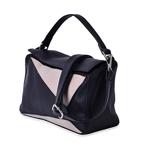Pocket with External and 30x17x12 Cm Shoulder Adjustable and Colour Grey Abstract Removable Strap Pattern Tote Zipper Black Bag Size Tassels with pqPfw