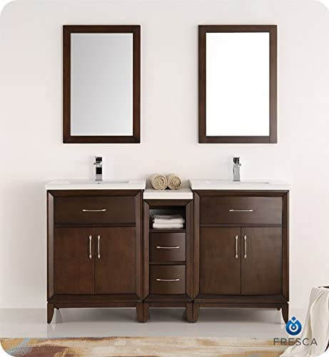 Fresca Cambridge 60″ Antique Coffee Double Sink Traditional Bathroom Vanity w/Mirror