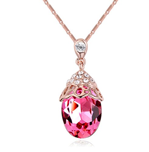 Gorgeous Jewelry Rose Red Austrian Crystal Color Scallop Shape Pendant Necklace Deluxe Female jewellery