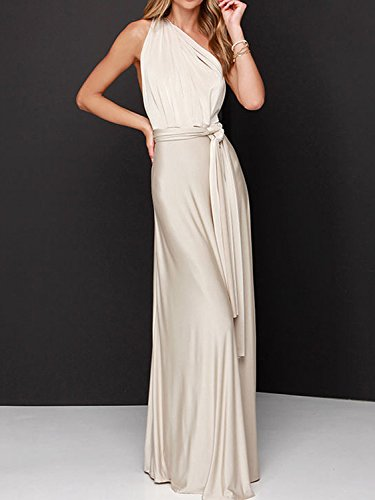 Way Multi Dress Infinity Maxi record CHOiES Wrap your Gown Cream Dress inspired fashion Convertible Women's Strap 8UgHz