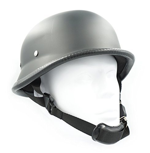 Hot Rides Classic Chopper Biker ATV Helmet Novelty (Non Dot) For Cruiser Harley Scooter German (Largr, Flat Black) (Helmet Ride Half)