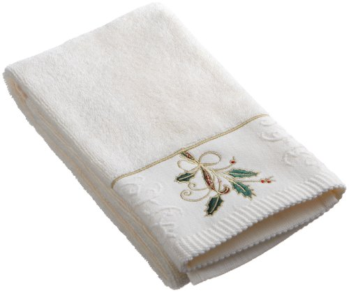 Lenox Ribbon - Lenox Ribbon and Holly Embroidered Hand Towel, Ivory