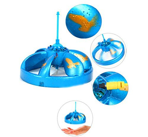 Blue Mini Infrared Sensor Flying Saucer UFO Hand Induced Hovering and Floating Flight Hand Movements Toy UFO Magic Trick Toys with LED Lights Geekercity Cute UFO Flying Disc