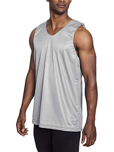 Mens Reversible Basketball Jersey Premium Moisture Wicking Mesh Tank Top (Small, 1ih05_Light Gray)