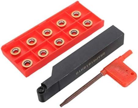 LHQ-HQ Gute Zähigkeit Srapr1616H10 CNC Planfräsen Externe Drehklingenhalter Drehen Bohrwerkzeug + 10Pcs Rpmt10T3Mo Einsätze