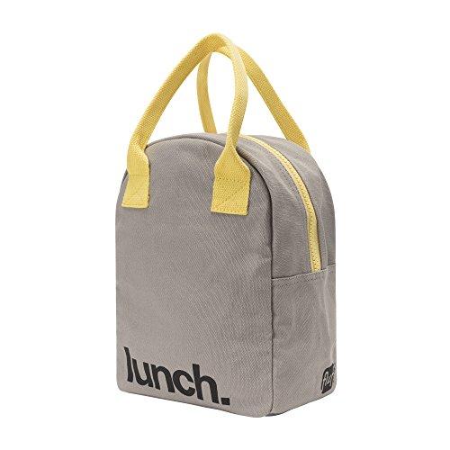 Fluf Zipper Lunch Bag, Organic Cotton (Grey 'lunch') by Fluf (Image #1)