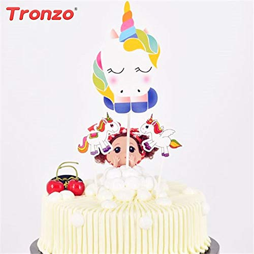 Cake Toppers Birthday Festivities Minions 3Pcs Unicorn Cake Topper DIY Paper Cake Decor Happy Birthday Decoration For Kids Party Supplies Gift