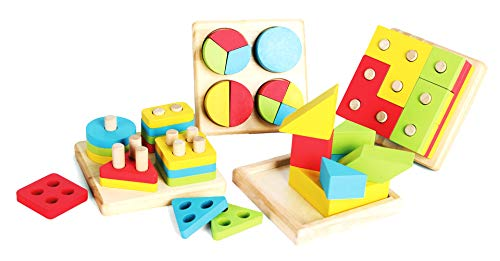 Wood Shape Sorter, Geometric Shapes Puzzle, Wooden Educational Shape Color Sorting Block, Including Tangram, Stacking Puzzles, Sorting Board for Preschool Toddlers 1,2,3,4 Years Old
