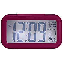 Cityhua Alarm Clock Digital Large LCD Display Battery Operated Modern Portable Morning Sensor Smart Snooze Back-Light Multi-Function Clock Time Date Month Temperature Office Bedroom Dormitory (Pink)