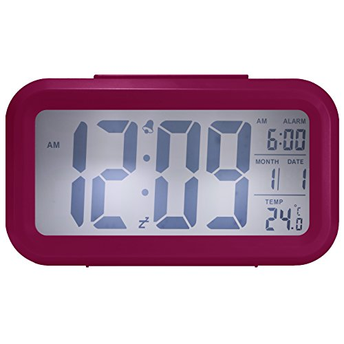 - Cityhua Alarm Clock Digital Large LCD Display Battery Operated Modern Portable Morning Sensor Smart Snooze Back-Light Multi-Function Clock Time Date Month Temperature Office Bedroom Dormitory (Pink)
