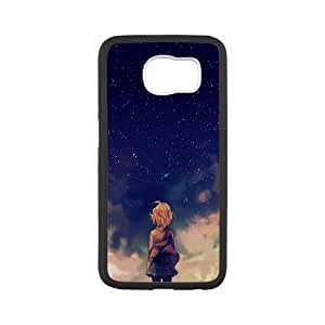 Samsung Galaxy S6 Cell Phone Case Black Starry Space And Anime Girl SU4325592