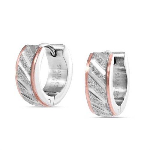 Hoop Diagonal (Two Tone Diagonal Carved Hoop Kpop Huggie Earrings For Men Sandblasted Matte Silver Rose Gold Tone Stainless Steel)