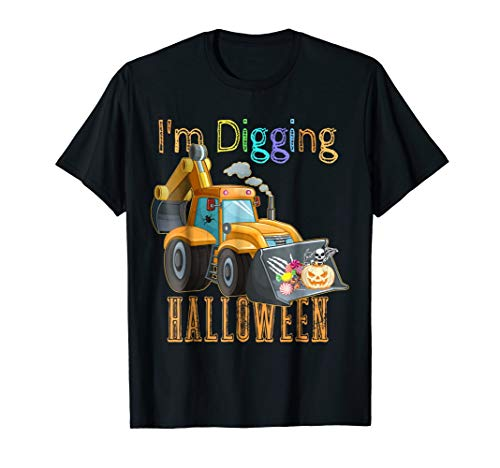 I'm Digging Halloween Shirt For Boys Digger Tractor Pumpkin