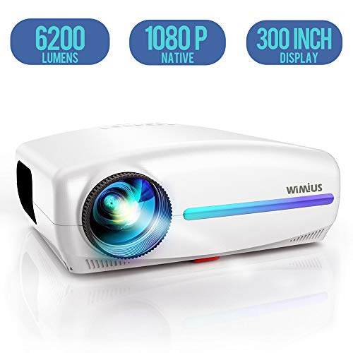 Projector, WiMiUS Native 1080P Projector 6200 Lumens Led Video Projector Support 4K HD Zoom ±50° Digital Keystone Cor, Outdoor & Home Projector Compatible with Fire TV Stick, PS4, PC, iPhone, Android