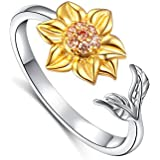 S925 Sterling Silver Sunflower with CZ Ring...