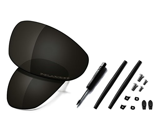 Saucer Premium Replacement Lenses & Rubber Kits for Oakley Juliet Sunglasses High Defense - Carbon Black Polarized