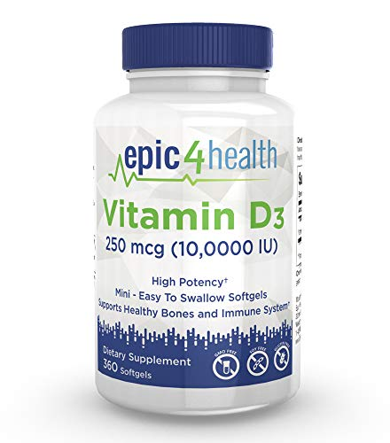 Cheap Vitamin D3 10,000iu 360 Softgels Non-GMO, Soy Free, Gluten Free and Easy to Swallow Mini softgels.
