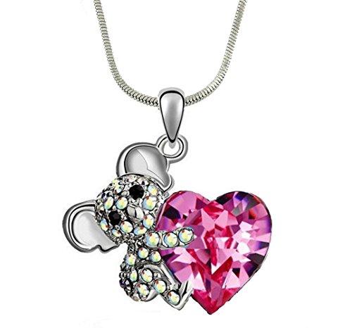 (DianaL Boutique Adorable Koala Teddy Bear Pink Heart 3D Pendant Necklace 18