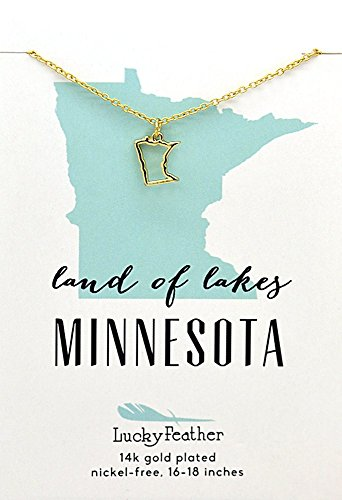 Lucky Feather Minnesota Shaped State Necklace, 14K Gold-Dipped Pendant on Adjustable 16
