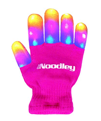 The Noodley Flashing LED Light Gloves - Kids Size (Child, Pink) - Extra Batteries Girls Gift Toy Easter