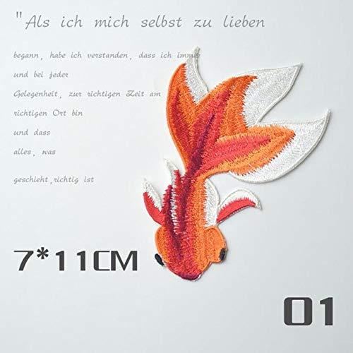 HATCHMATIC Lindo aplique de peces dorados Ropa bordada Parche de hierro Paño de coser DIY Envío de gota6.07/35%: A