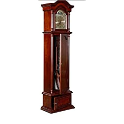Glass/Metal/Wood Gunfather Clock Features A Concealed Gun Storage Up To 6 Guns, Dimensions 75Hx21Wx11D