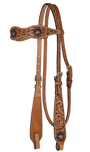 (Circle Y Leather Floral Tooled Scallop Browband Headstall with Antique Copper Conchos )
