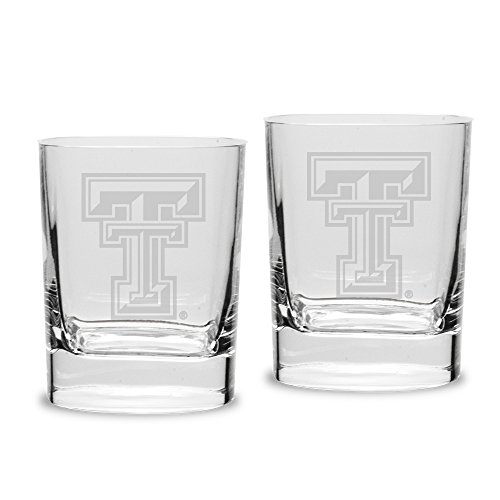 NCAA Texas Tech Red Raiders Adult Set of 2 - 14 oz Square Double Old Fashion Glasses Deep Etched Engraved, One Size, Clear