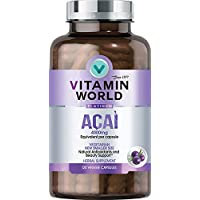 Vitamin World Platinum Acai 4000mg | Premium Antioxidant & Beauty Support Supplement feat. High-Potency Acai Extract & Red Orange Complex, 120 Capsules