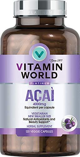 Vitamin World Platinum Acai 4000 mg. 120 Vegetarian Capsules, Natural Antioxidant, Sicilian Red Orange Complex