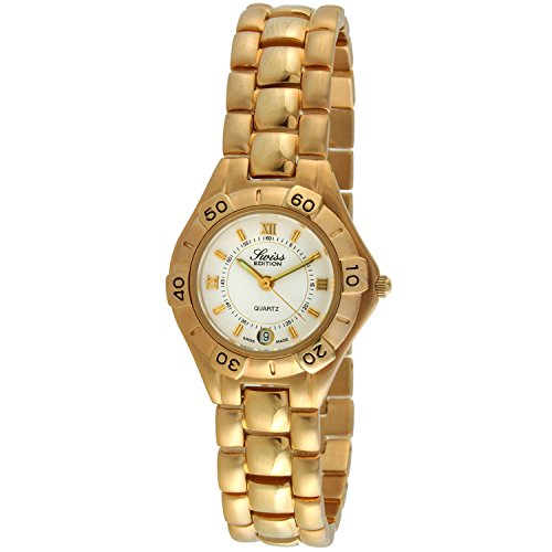 Swiss Edition Women's 23K Gold Plated Luxury Roman Numeral Dial Sport Bezel Dress Watch SE3605-G