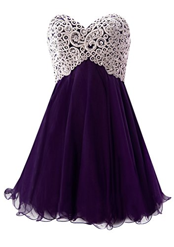 Fiesta Formals Short Chiffon Metallic Silver Embroidery Dress - Purple - - Mail Usps Time Ship Priority