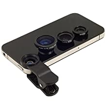 Black Universal Clip-on 180 degree 3 in 1 Fisheye+Wide Angle+Macro Camera Lens for iPhone 5 5S 4 4S 6 Samsung Galaxy S5/S4/S3 Note 4/3/2 HTC Blackberry Bold Touch, Sony Xperia, Motorola Droid