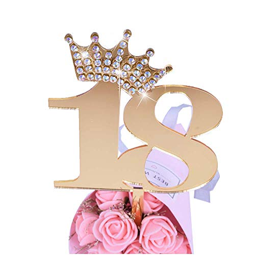 YUINYO Crown Gold Glitter Happy Birthday Cake topper - Forever 18 Party Favors - 18th Birthday Party Decoration-18th Anniversary Party Decoration quality acrylic Gold -
